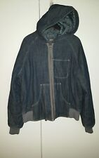 G STAR MEN'S HOODED DENIM BOMBER JACKET DARK BLUE XL