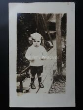 Studio Portrait LITTLE BOY WITH PULL ALONG TOY DOG ON WHEELS - Old RP Postcard