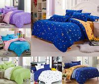 Star Moon Bedding Set Cotton Quilt Duvet Cover + PillowCase Twin Double Queen