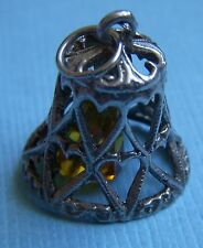 Vintage English movable bell with hearts and crystal sterling charm