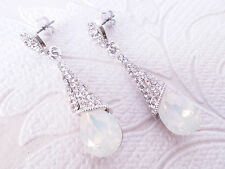 Modern Opal Crystal Bridal Drop Earring Art Deco Wedding 1920s Prom Jewelry Gift