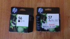 HP 56 BLACK C6656AE & 57 TRI COLOUR C6657AE, INK CARTRIDGES SET. 2011 2018, NEW