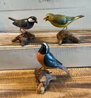 Lot of 3 Hand Carved Hand Painted Wooden Birds on Log Figures Statues