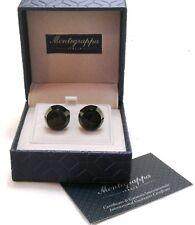 Montegrappa IPBLACK Cufflinks, Black Inlay, WHT IDMYCLBC NEW #32793