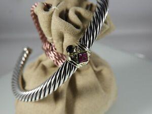David Yurman Pink Tourmaline, Rhodalite Garnet 14k Gold Renaissance Bracelet