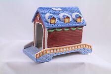 SANTA'S BEST CHRISTMAS COLLECTABLE-COVERED BRIDGE-1991-4.5 X 6-PORCELAIN