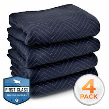 "Ultra Thick Pro Moving Blankets Padded Furniture Pads 4 Pack 72"" x 80"""