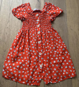 Zara Kids Girls Short Sleeve Dress Red With White Floral Size 8 Years