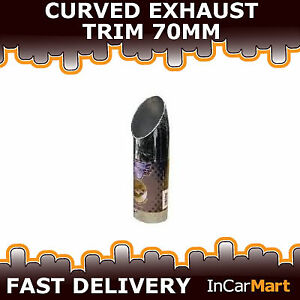 UNIVERSAL BOLT ON EXHAUST TAIL PIPE TIP TRIMS CURVED CHROME 70MM
