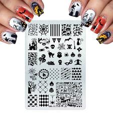 Arte en uñas placa de imagen Planchas para Estampar Halloween Bruja Gato pumpins Bat Boo (HK11)
