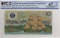 1988 Australia $10 Note Johnston/Fraser 2nd Release Superb Gem Unc 67 OPQ PCGS
