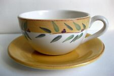 """Pre-Owned Portugal-Made Crate & Barrel """"Brittany Pattern� Flat Cup & Saucer Set"""