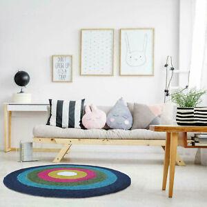 100% Jute Area Rug Braided Mat Bohemian Fisheye Carpet Multicolor Round Rag Rugs