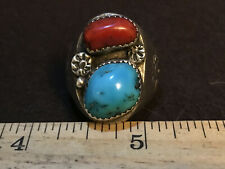 """Vintage Heavy Old Pawn Silver Turquoise Coral ring """"large stones"""" size 10.5"""