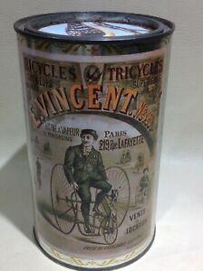 Ancienne boite Metal Ricoré publicité bicycles/tricycles E.Vincent.neveu