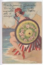 CPA  GRANVILLE 50 -  SEXY PIN UP OMBRELLE MER VOILIER DEPLIANT 10 VUES 1925 ~B83