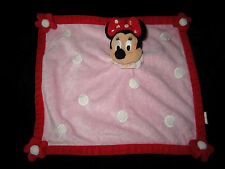 Doudou carré plat Souris Minnie rose et rouge à pois blancs Disney Disneyland
