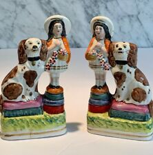 Pair Vintage Reproduction Staffordshire Girls with Dogs