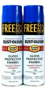 2 Cans Rust-Oleum 15 Oz Stops Rust 254156 Gloss Sail Blue Protective Enamel