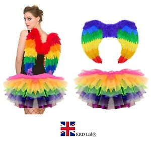 RAINBOW PARROT TUTU COSTUME Feather Fancy Dress Outfit Bird Fairy Party NEW UK
