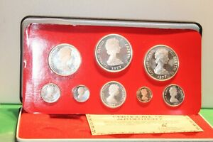 1977 CAYMAN ISLANDS Proof Set With Original Box Sleeve COA 8 Coins 4 Silver