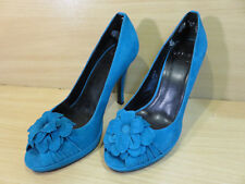 OFFICE TURQUOISE BLUE GREEN SUEDE LEATHER PEEP TOE HIGH HEELED PLATFORM SHOES 4
