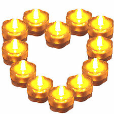 Lot of 12 Amber Glow Yellow Submersible Waterproof Underwater Tea Light