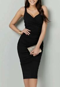 BRAVISSIMO Black Strappy Leila Dress Work Party Evening Midi Dress RRP £60 187