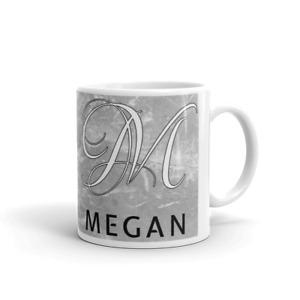 Personalised Grey Marble Print Ceramic 11oz Tea/Coffee Mug With Name and Initial