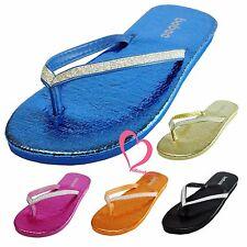 Sparkling Bling Shinning Metallic Thong Flip Flops Slip On Beach Sandals Shoes