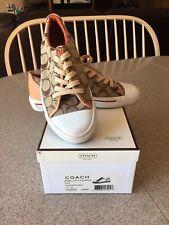 COACH Bobbi P227 Women's Signature Brown/Natural Jacquard Fashion Sneakers 7.5 M