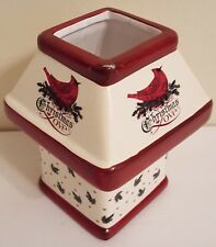 "Christmas Tealight Holder Ceramic Cardinal Holly Berries Love 5 1/4"" Wysocki"