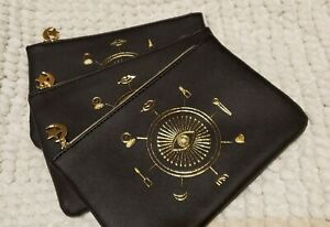 3x Ipsy Glam Bag October 2020 Makeup BLACK with design in gold  New BAG ONLY