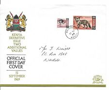 E9643 KENYA DEFINITIVE ISSUE TWO ADDITIONAL VALUES 1969 BIRDS, ANIMALS FDC