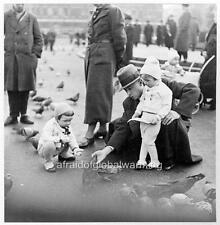 Photo. ca 1936. Leipzig, Germany.  Man & Daughters Feeding Pigeons