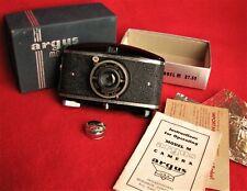 Argus Model M Vintage 828 Viewfinder Camera, Box, Instruction Book, Lens Cap