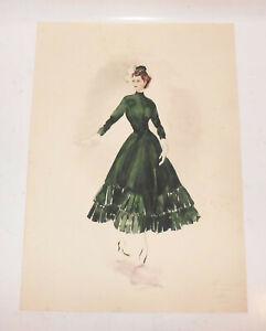 Art Deco Mode Zeichnung Kleid 1948  Modedesign Ingeborg Lehmann Dekorativ !