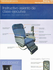 LAN CHILE B 767 BUSINESS CLASS SEAT AND SCREEN INSTRUCTIONS