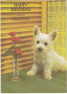 Happy Birthday Husband Vintage Greeting Card 1970's West Highland Terrier Dog