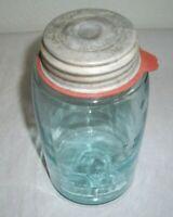 "Antique ""ATLAS MASON'S PATENT"" Quart Aqua Glass Jar--With Initialed Lid & Rubber"