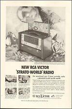 1953 vintage AD  RCA VICTOR Strato World Portable Radio 7 Bands Overseas 122414