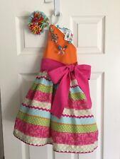 Fairytale Pumpkin Fall Orange Pink Blue Boutique Dress Bow Necklace Size 4