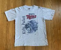 Minnesota Twins Vintage 90's Kirby Puckett Gray Sport Attack Shirt Size L EUC