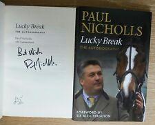 HORSE RACING PAUL NICHOLLS SIGNED INSCRIBED LUCKY BREAK 1/1 UK HB/DJ 2009 NICE