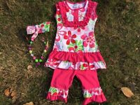 pink lime paisley capri pants girls set chunky bead headband 3t 4t 5t 6t