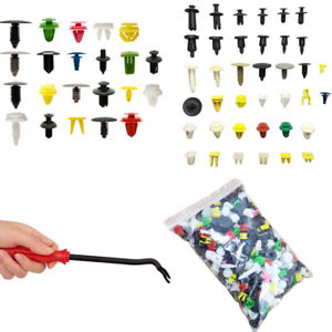 500X Mixed Car Hood Panel Bumper Clips Plastic Rivet Fasteners Push Pin w/ Tool