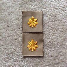 Original WW2> MAJOR'S Rank Insignia (Embroidered Yellow on Khaki cloth / Pair)