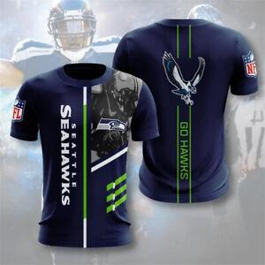 Seattle Seahawks Men Soft T-shirt Short Sleeve Top Tee Casual Sportswear S-5XL