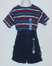 The Childrens Place Infant Boys Adjustable Waist Cargo Shorts & T-Shirt 24M NWT