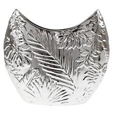 Silver Art Leaf Large Ceramic Flower Vase Decorative Home Party Wedding Decor